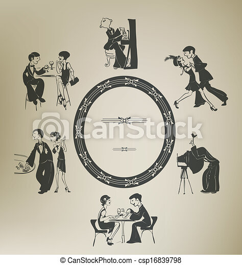 Set of characters in vintage party activities. Retro stylized. - csp16839798