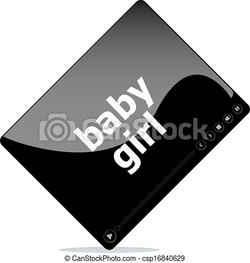 clip art of video movie media player with baby girl word