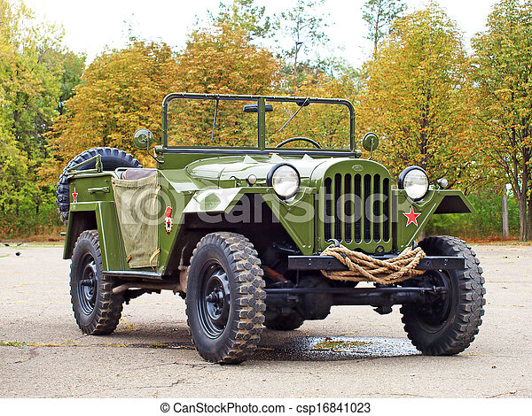 Soviet military automobile Gaz 67 from the WW2. - csp16841023