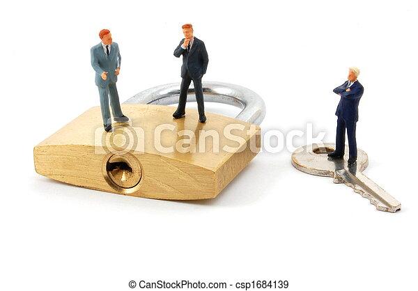 business man on security padlock - csp1684139