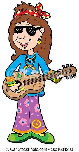 Stock Illustratie Van Spotprent Hippie Musicus