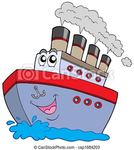 caricatura, barco - csp1684203