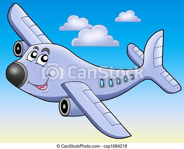 błękitny airplane, niebo, rysunek - csp1684218
