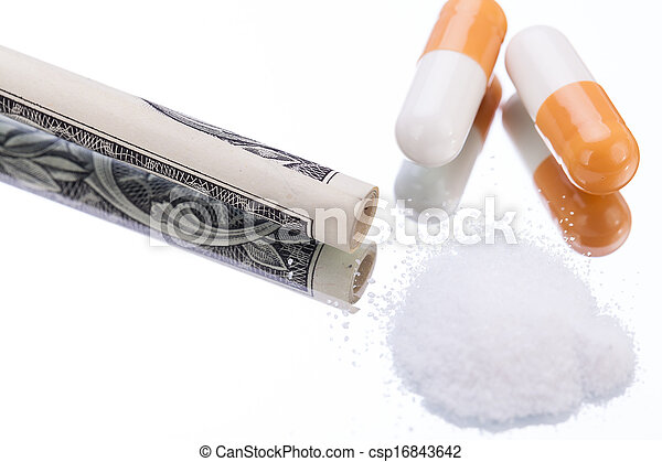 illegal pharmaceutical pills and drugs money on mirror - csp16843642