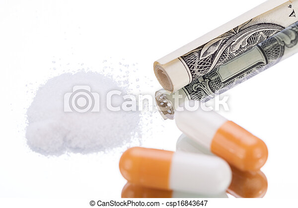 illegal pharmaceutical pills and drugs money on mirror - csp16843647