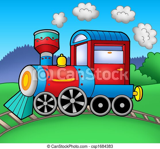 Steam locomotive on rails - csp1684383