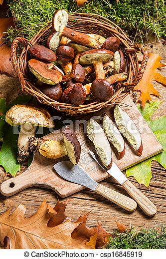 Wild mushrooms in a basket prepared for dinner