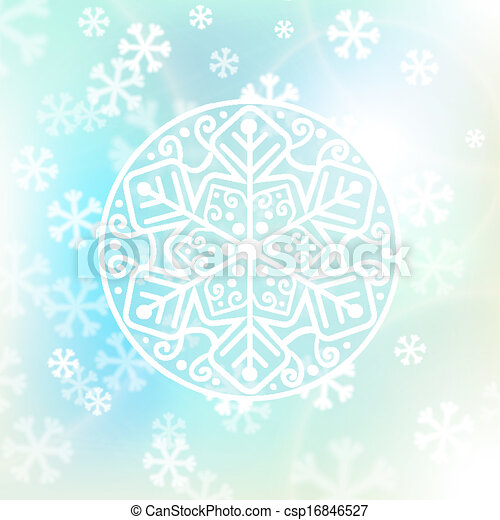 Christmas background, snowflakes and soft colors - csp16846527