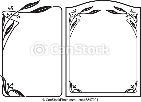 black and white floral and ornamental frame