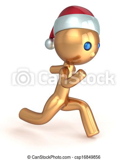 Running man Christmas character - csp16849856
