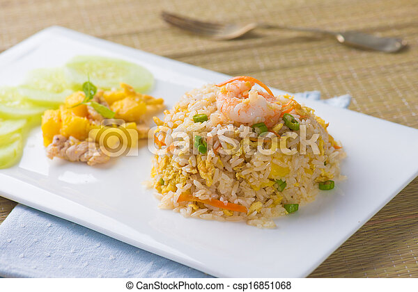 pinapple fried rice , popular chinese foods - csp16851068