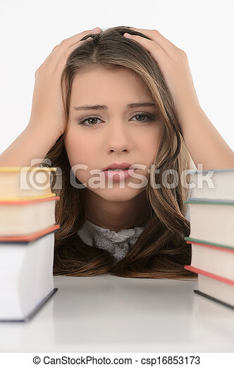 triste, colegiala, alegre, adolescente, colegiala, tenencia, ella, cabeza, Manos, Mirar, cámara, mientras, aislado, blanco - csp16853173
