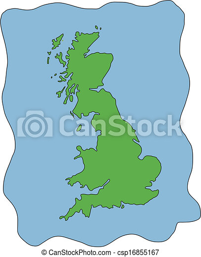 Clip Art Vector of Vector Map of UK United Kingdom - Hand drawn ...