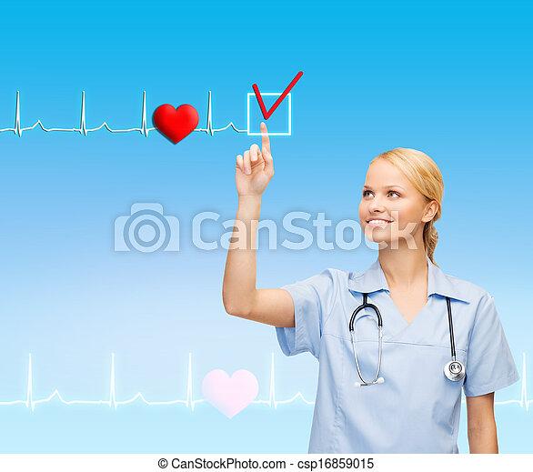 smiling doctor or nurse pointing to something