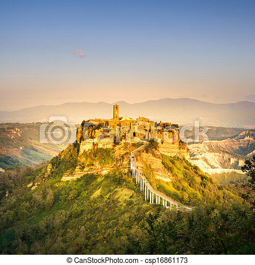 Civita di Bagnoregio landmark, aerial panoramic view on sunset. Italy - csp16861173