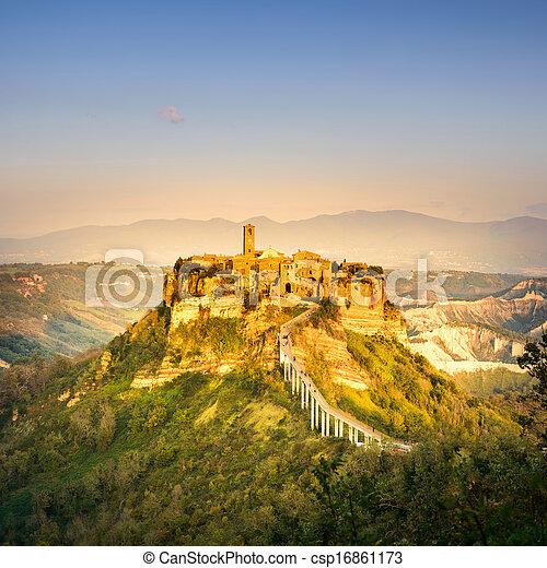 Civita di Bagnoregio landmark, aerial panoramic view on sunset. Italy - csp16861173