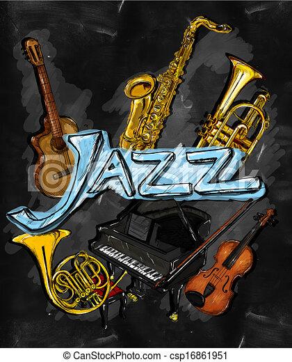 instrument,  jazz, peinture - csp16861951
