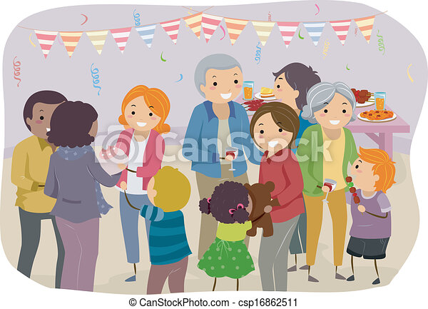 Vector Clip Art Of Family Party Illustration Of A Family