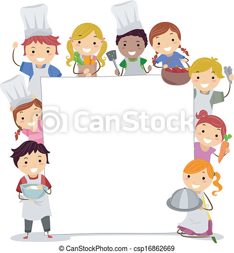 Cooking Utensils Drawing For Kids : Vector of Cooking Classes Board - Illustration of Kids Holding Cooking ...