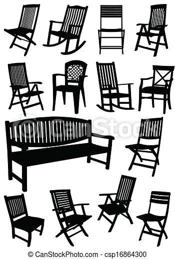 Stühle clipart  Vektor Clipart von stühle, ben, kleingarten, sammlung - Collection ...