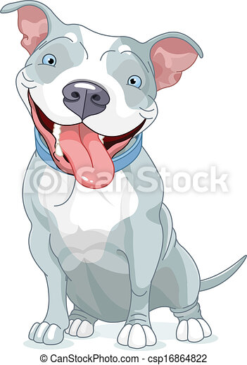 Vector Illustration of Pit Bull Dog - Illustration of Cute ...
