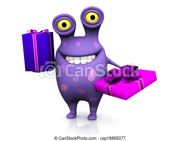 A spotted monster holding two birthday gifts. - csp16865077