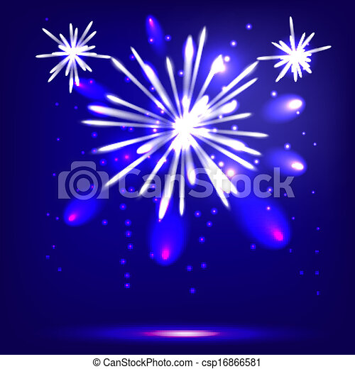Blue background with fireworks - csp16866581