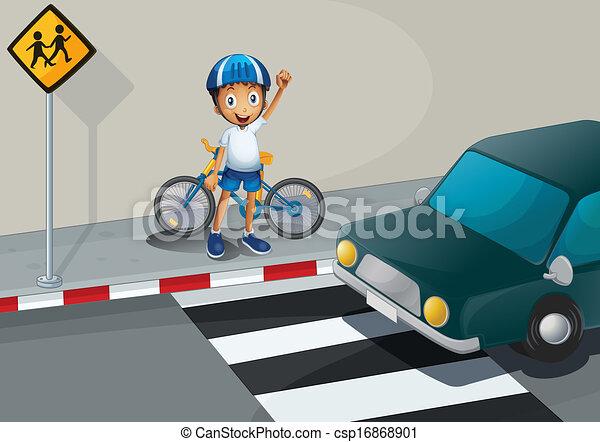 Vector Clip Art de Un, niño, bicicleta, posición, peatón, carril ...