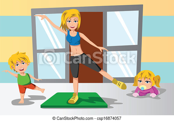 Clipart Vector of Mother and her kids exercise - A vector ...