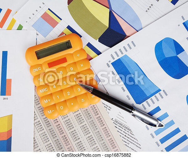Calculator and office objects. - csp16875882
