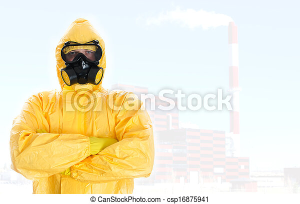Worker in protective chemical suit. Space for your text. - csp16875941