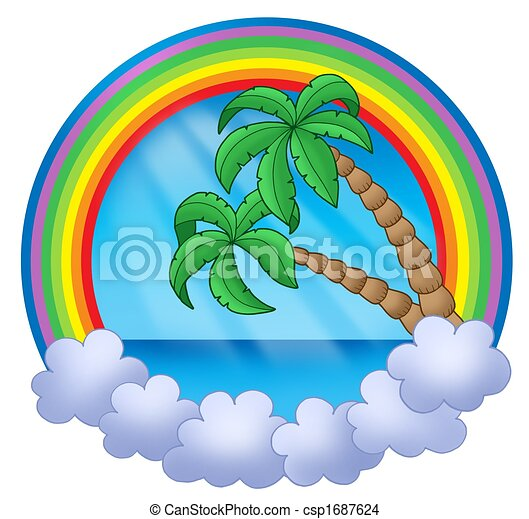 Rainbow circle with palm trees - csp1687624
