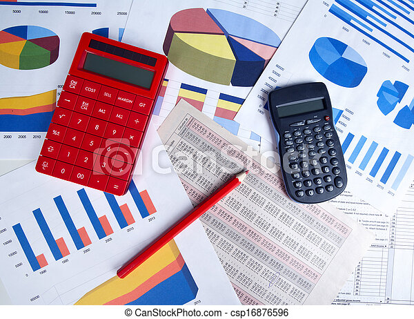 Calculator and office objects. - csp16876596