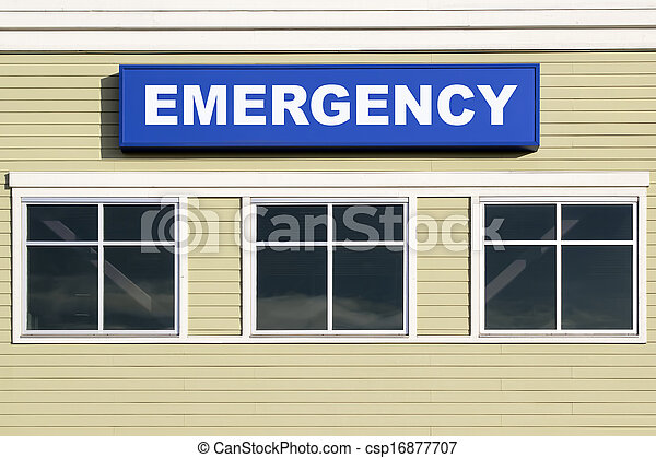 Emergency Sign Outside Hospital Building - csp16877707