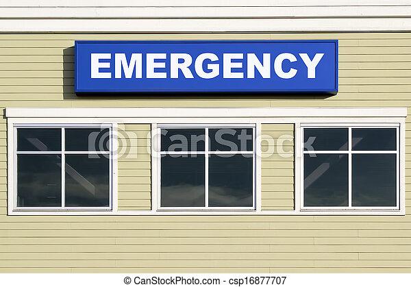 Emergency Sign Outside Hospital Building - csp16877707