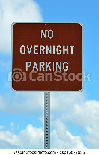 No Overnight Parking Sign - csp16877935