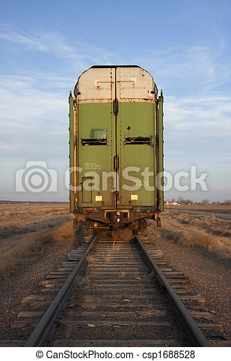 old stock rail car for livestock transportation  - csp1688528