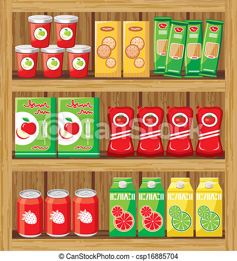 Supermarket. Shelfs with food. - csp16885704