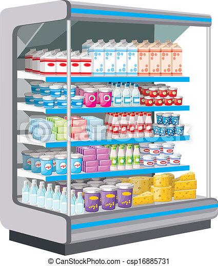 Vectors Of Supermarket Dairy Products Vector Csp16885731