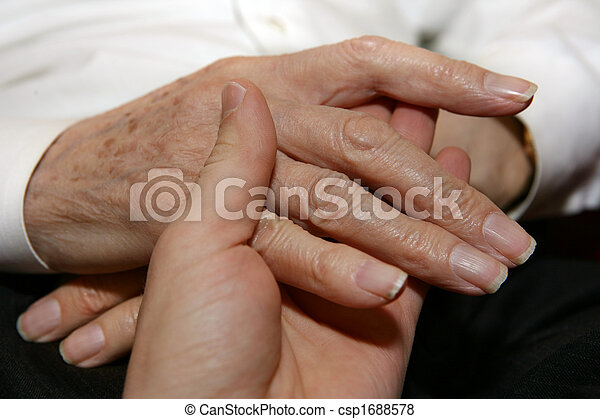 Caregiver holding Senior's hands - csp1688578