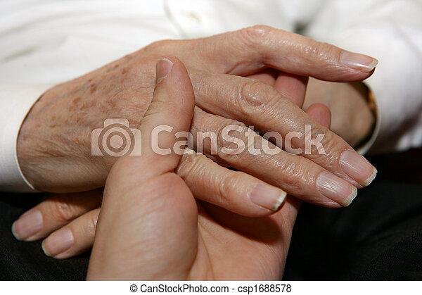 Caregiver holding Senior\'s hands - csp1688578