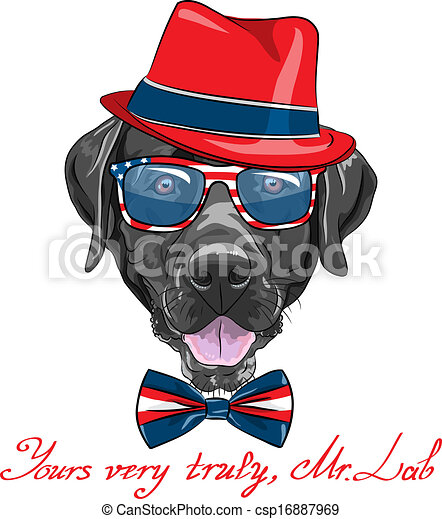 Clip Art Vector of vector cartoon hipster dog Labrador - smiling black ...