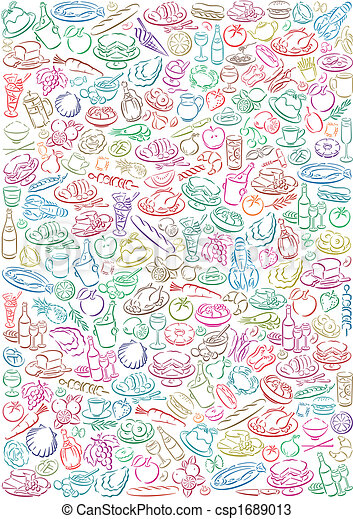 pastell colored food symbols - csp1689013