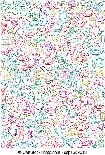 pastell colored food symbols - csp1689013