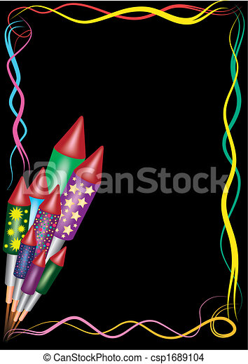 EPS Vector of happy new year - bunch of bottle rockets on a black ...