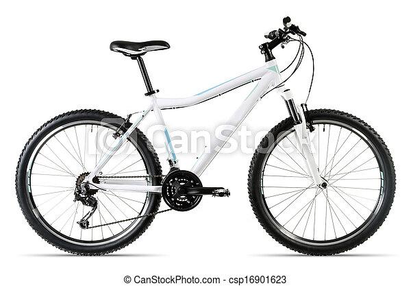 Stock Photo - white mountain bike before white background - stock ...