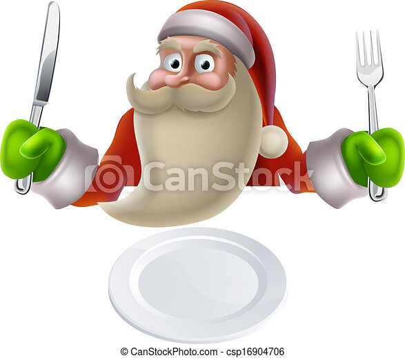 Vector Clipart of Santa Eating Christmas Dinner Food - Santa ...