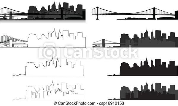 New York city silhouette - csp16910153