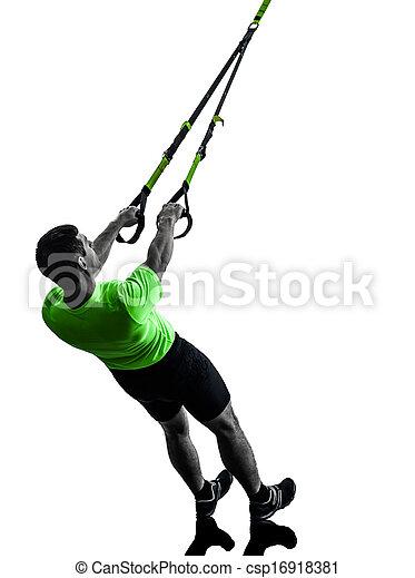 man exercising suspension training  trx silhouette - csp16918381