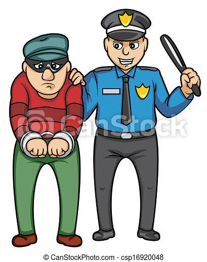 Ladrón arrestado, dibujo.
